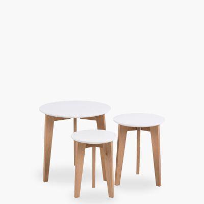 Set de 3 mesas de centro Abin Blanco